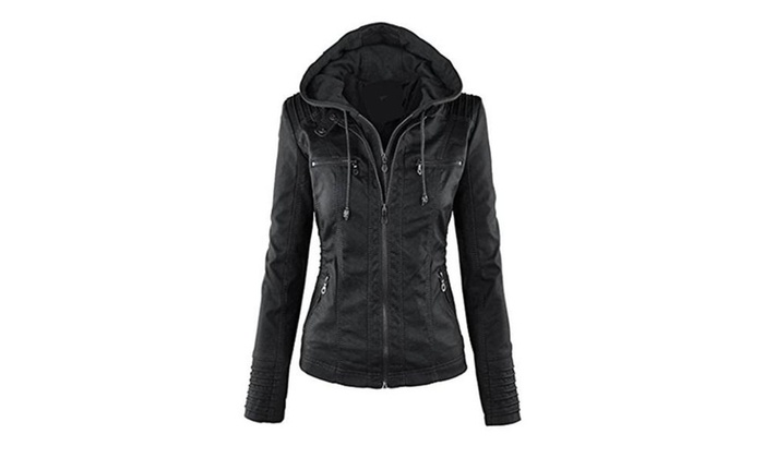 AIJIAO Womens Hooded Faux Leather Jacket Slim Fit Motorcycle Jacket