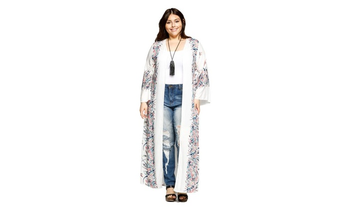 bc95bd4a174 Xehar Women s Plus Size Open Front Loose Long Floral Kimono Cardigan ...