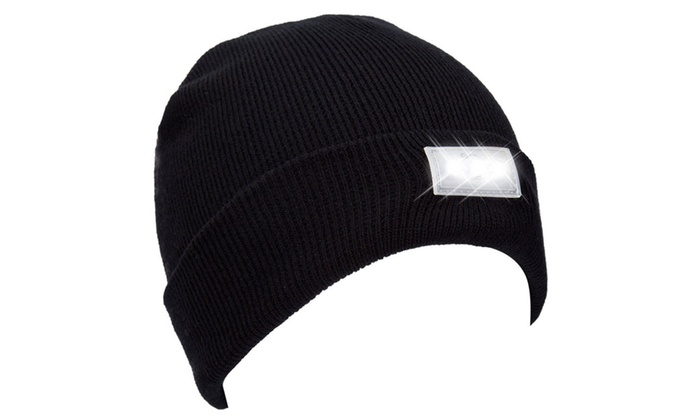 Unisex Knitted Beanie With Built-In 5 LED Flashlight