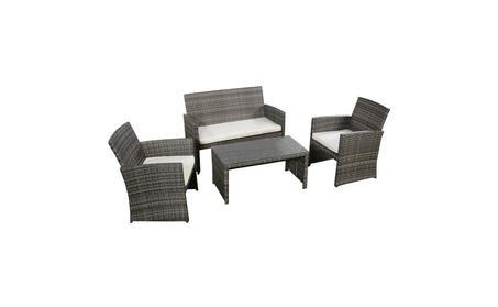 Costway 4 Pc Rattan Patio Furniture Set Garden Sofa Cushioned Seat d13ff571-28aa-4bfe-8d4e-655435ceed26