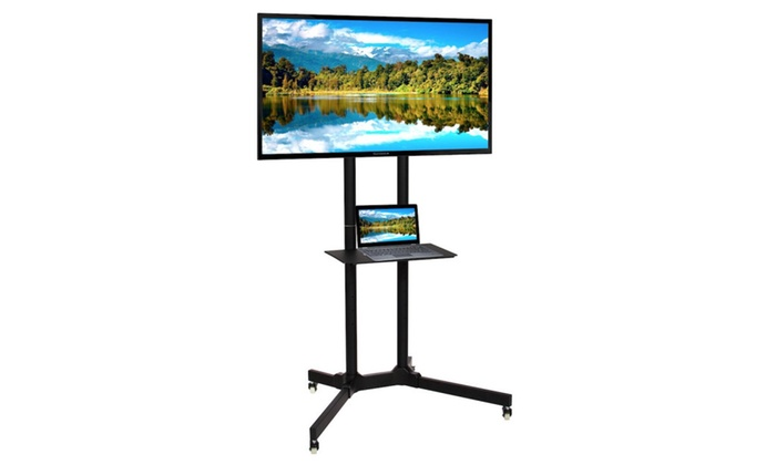 Tv Stand Mobile Tv Cart W Lockable Wheels 32 65 Screen Lcd Led