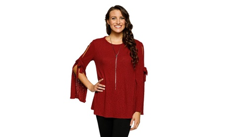 Xehar Women's Stylish Ribbed Solid Bell Sleeve Tie Knit Tunic 550c1fd3-f5cc-4466-b9e2-9d4575f8297a
