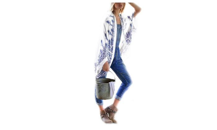 Women's Geometry Printing Tunic Kimono Cardigan Shawl Cover up - White and Blue / One size