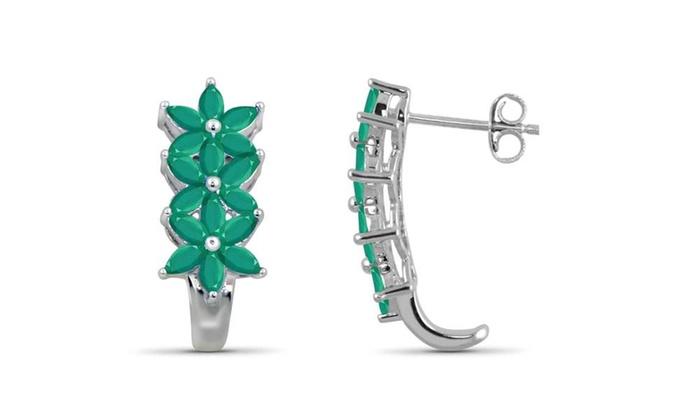 9e8e8b1ac187eb JewelonFire 2.50 Carat Genuine Emerald Sterling Silver J-Hoop Earrings