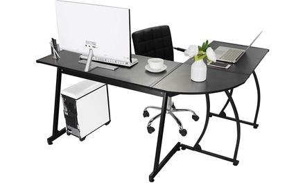 ZENY L-Shaped Corner Computer Desk, Black