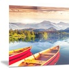Boats Heading to Lake Landscape Metal Wall Art 28x12