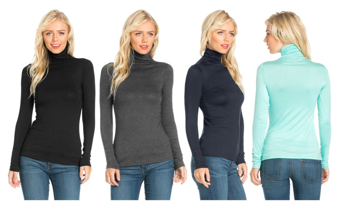 FACA Womens Turtleneck Slim Fit Pullover Sweater T-Shirt Top