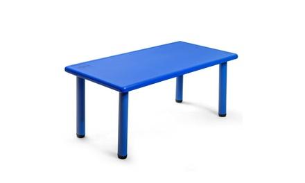 Costway Kids Plastic Rectangular Learn and Play Table Playroom Kindergarten Blue