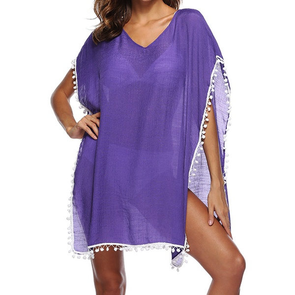6d9eb1bf29 Women's Fashion Chiffon Tassel Swimsuit Bikini Stylish Beach Cover Up
