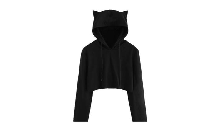 5ef71ae612fab7 Ladies Cat Ear Hoodie Long Sleeve Crop Top | Groupon