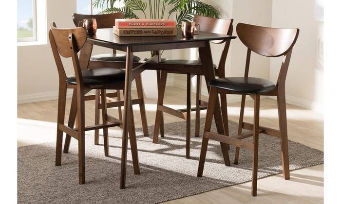 Leena MidCentury Modern Faux LeatherUpholstered Pub Set Piece - Mid century modern pub table