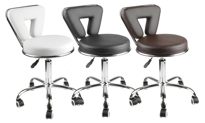 Dailyselections Apontus Adjustable Rolling Salon Stool w/ Back ...  sc 1 st  Groupon & Apontus Adjustable Rolling Salon Stool w/ Back | Groupon islam-shia.org