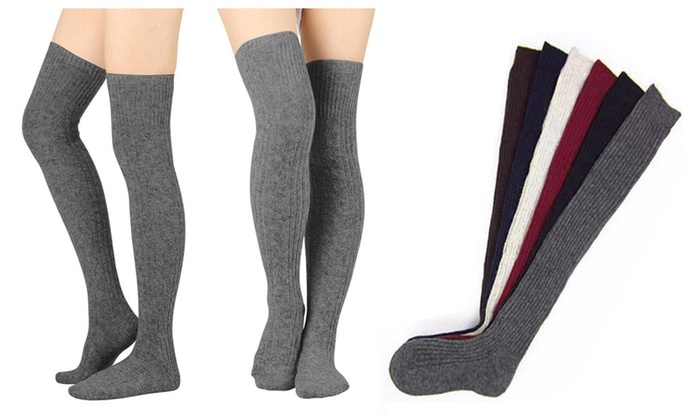 01bbad6e373cf Womens Cable Knit Thigh High Socks Over-the-Knee Stockings Winter Warm