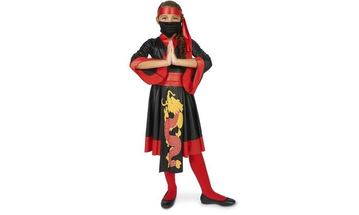 Black and Red Ninja Girl Dress Child Costume ...  sc 1 st  Groupon & Black and Red Ninja Girl Dress Child Costume | Groupon