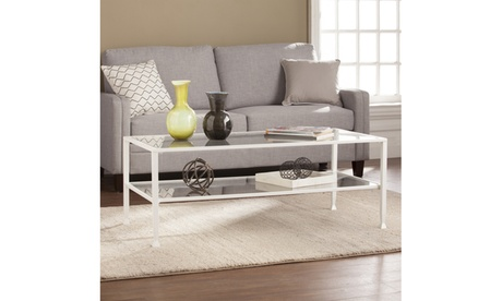 Jaymes Metal/Glass Rectangular Open Shelf Cocktail Table - White 0fb9bec1-8e17-40ba-a483-1d2ece781e9b