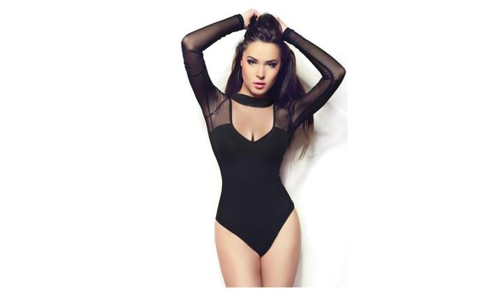 Miorre Black Long Sleeve Mesh-Top Bodysuit