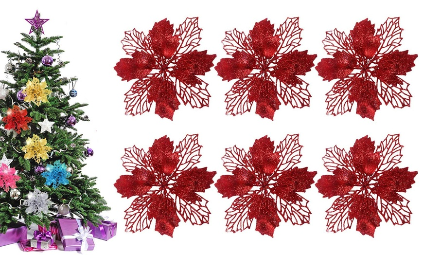 16cm Diameter with 12 Pcs Green Soft Stings GL-Turelifes Pack of 12 Glitter Artificial Poinsettia Flowers Christmas Wreath Christmas Tree Flowers Ornaments 6/'/' Champagne