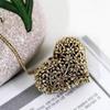 3D Hollow Flower Carving Heart Shape Pendant Long Chain Necklace