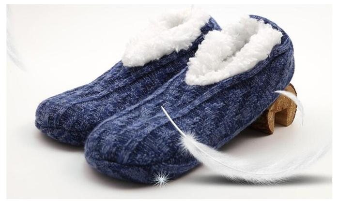 Unisex Plush&Knitted Non-skid Slipper Socks
