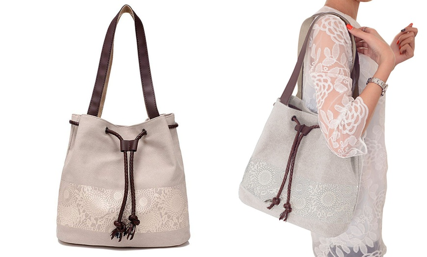 Printing Canvas Shoulder Bag Retro Casual Handbags Messenger Hobo Bags