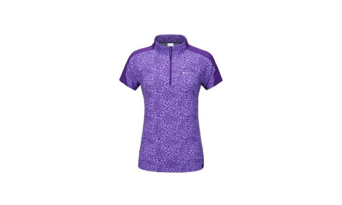 Women's Short Sleeve Simple Fashion Zip Closure Solid T Shirt