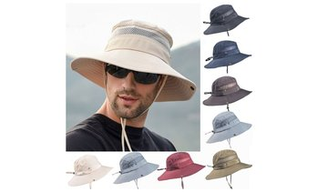 Summer Mens Sun Hat Bucket Fishing Hiking Cap Wide Brim UV Protection Hat