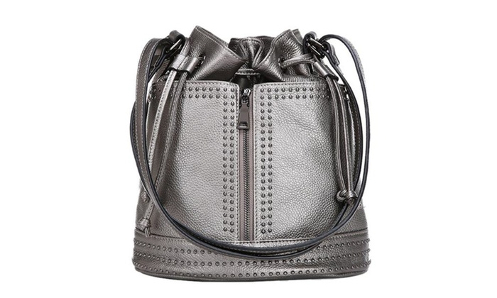 Women's Drawstring Bucket Leather Shoulder Bags