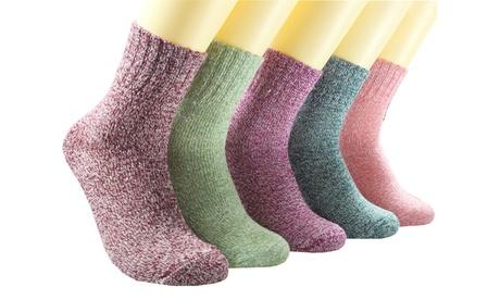 5 Pairs/Set Womens Wool Socks Thick Knit Vintage Winter Warm Cozy Crew Socks