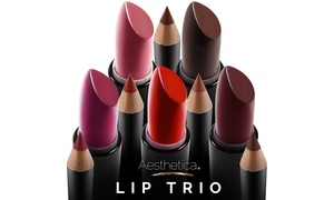 Aesthetica Matte Lipstick, Lip Gloss, and Lip Liner Set (3-Piece)