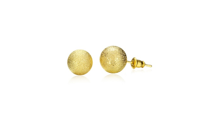Swiss Couture Jewelry: 18K Gold Plated Classic Ball Stud Earrings
