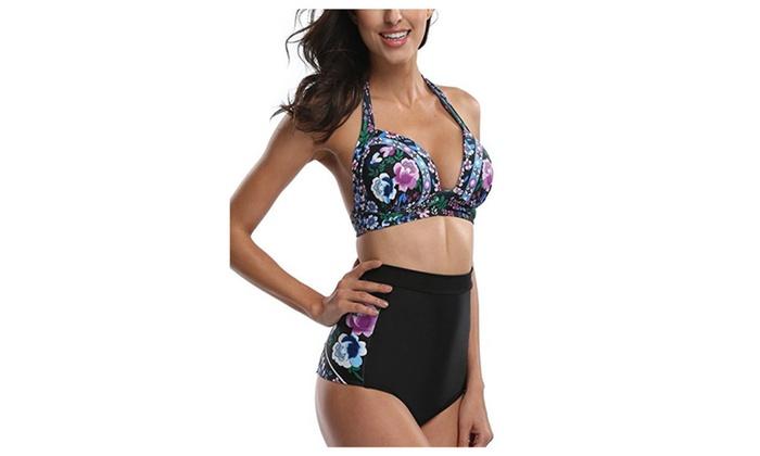 Womens Floral High Waisted Swimsuit Bikini Swimwear Halter Bikini Set