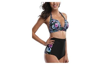 Womens Floral High Waisted Swimsuit Bikini Swimwear Halter Bikini Set dce6aae5-b1e5-4307-ad6b-eb733efcb258