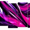 Pink & Purple Ribbons - Contemporary Wall Art - 60x32 - 5 Panels