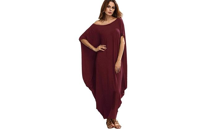 d52d95288b0 Women s Boho One Off Shoulder Caftan Sleeve Harem Maxi Dress XL Black