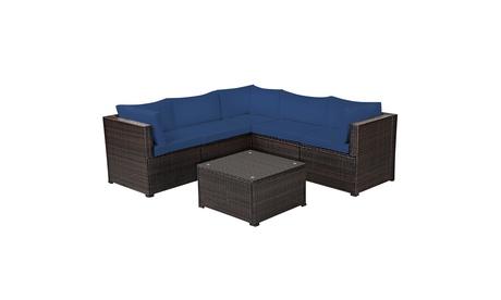Costway 6PCS Patio Rattan Furniture Set Sectional Cushioned Sofa Deck Navy