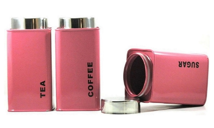 Tea Coffee And Sugar Pink Canister Powder Coated Set Of 3 Groupon