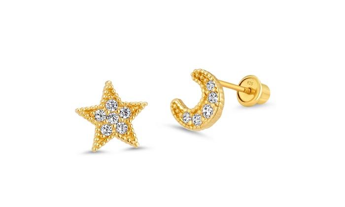 80148823b 14k Gold Plated Brass Moon Star CZ Screwback Girls Earrings Sterling Silver  Post