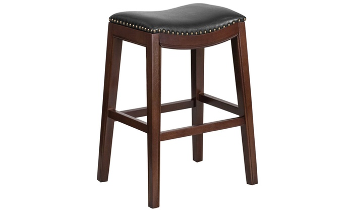 30 High Backless Wood Barstool With Leather Seat Groupon