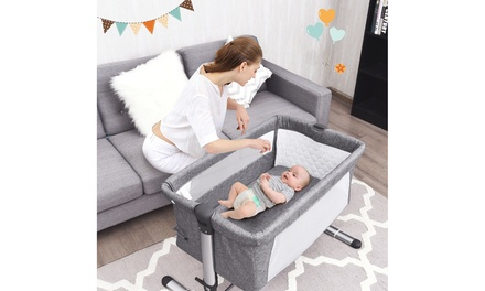 Costway Portable Baby Bed Side Sleeper Infant Bassinet Crib W/Carrying Bag Grey