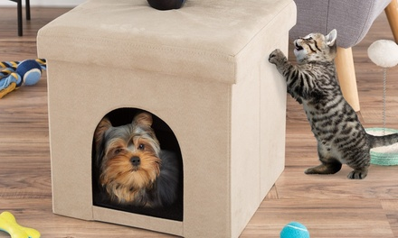 Pet House Ottoman- Collapsible Multipurpose Cat or Small Dog Bed by PETMAKER