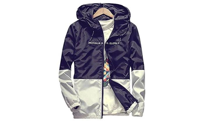 Men's Long Sleeves Casual Lightweight Colorblock Zipper Hoodie Jacket