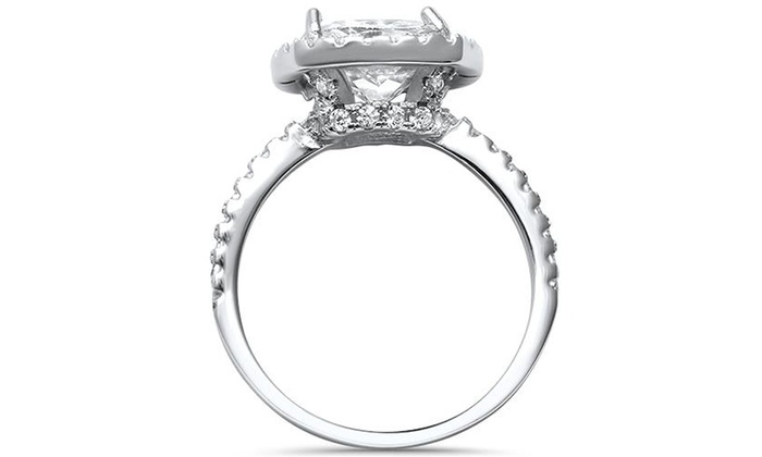 925 Sterling Silver Rhodium-finish Diamond /& White Topaz April Stone Heart Ring Size 5-10