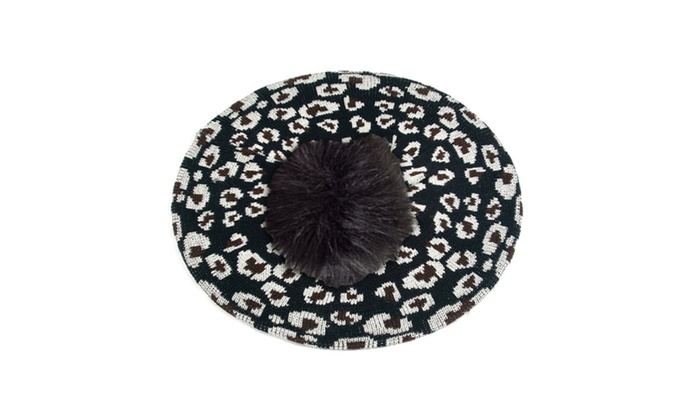 Leopard Print Light Beret Knitted Style for Spring Fall 159HB_Black – Black