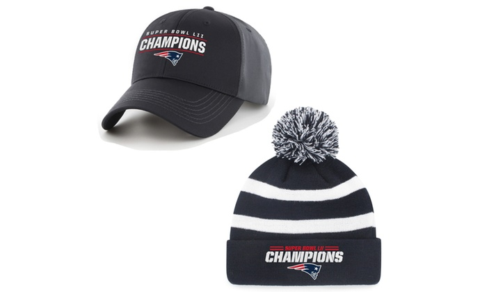 fda766a9f72 NFL Super Bowl LII Champs New England Patriots Hats by Fan Favorite ...
