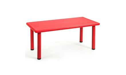 Costway Kids Plastic Rectangular Learn and Play Table Playroom Kindergarten Red
