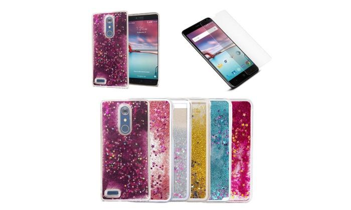 innovative design 5c0d7 3d56b Liquid Glitter Star Case & Tempered Glass Included! For Zte Zmax Pro ...