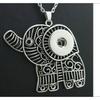 Vintage Elephant 18mm Metal Snap Button Pendant Women Necklace
