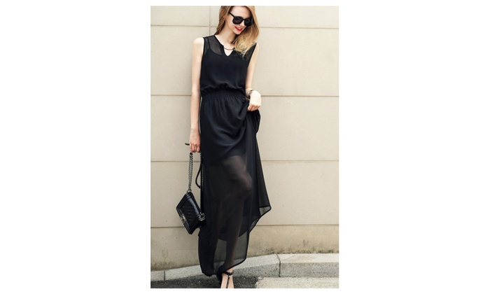 Women Long Length Sleeveless Elastic Waist Dress - TCWD405