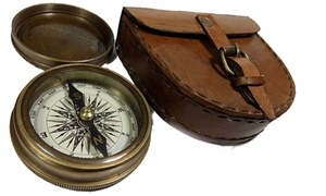 Camping Gadgets Antique Brass Pocket Compass with Leather Case
