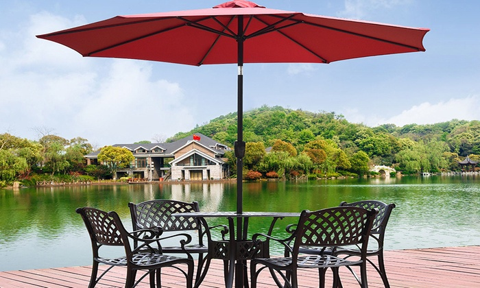 9u0027Outdoor Round Beach Market SunShade Patio Umbrella W/Cranku0026Push Tilt